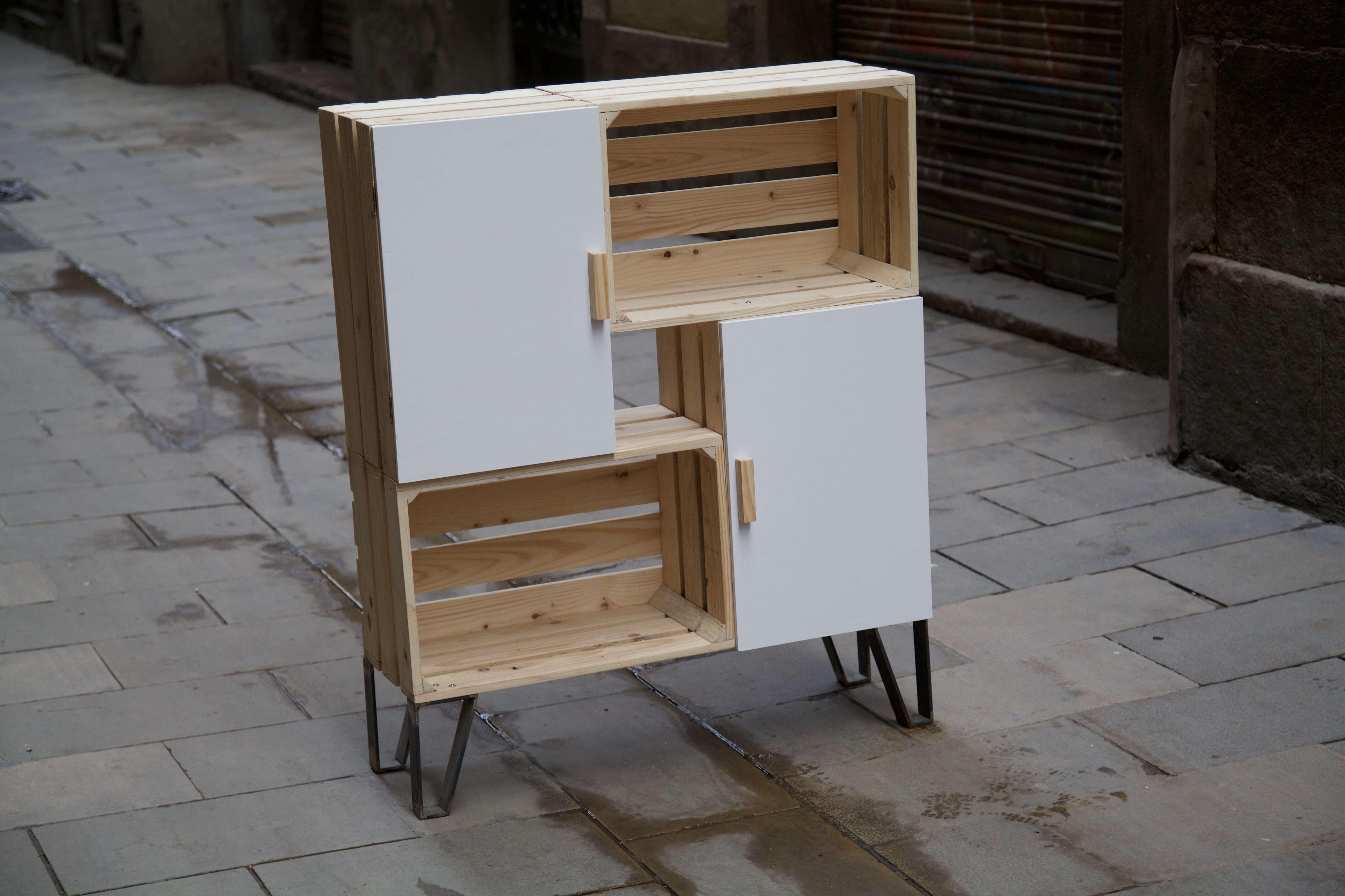 Mueble nemo blanco paletos - Palets para muebles ...
