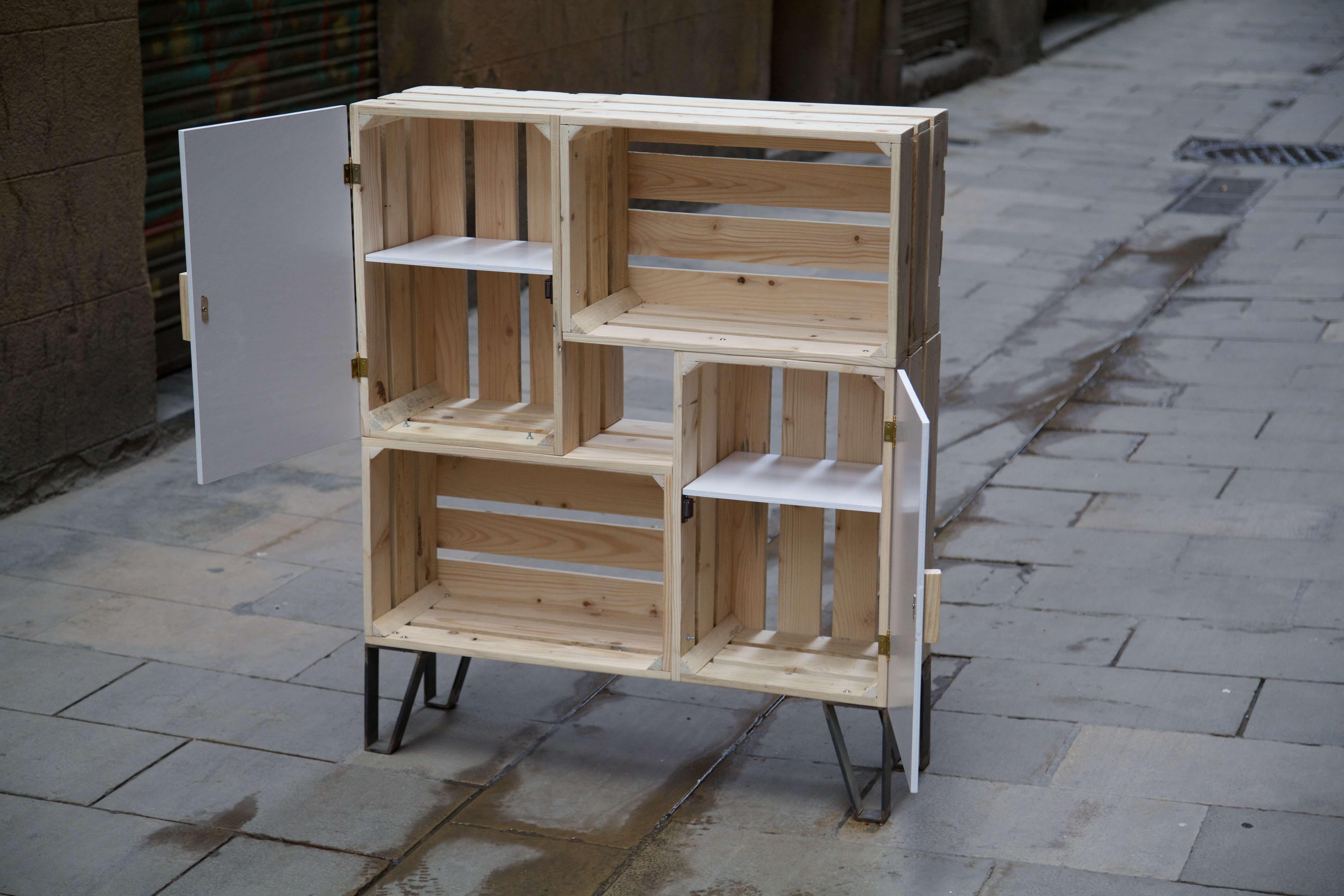 Mueble nemo blanco paletos for Muebles con cajas de fruta