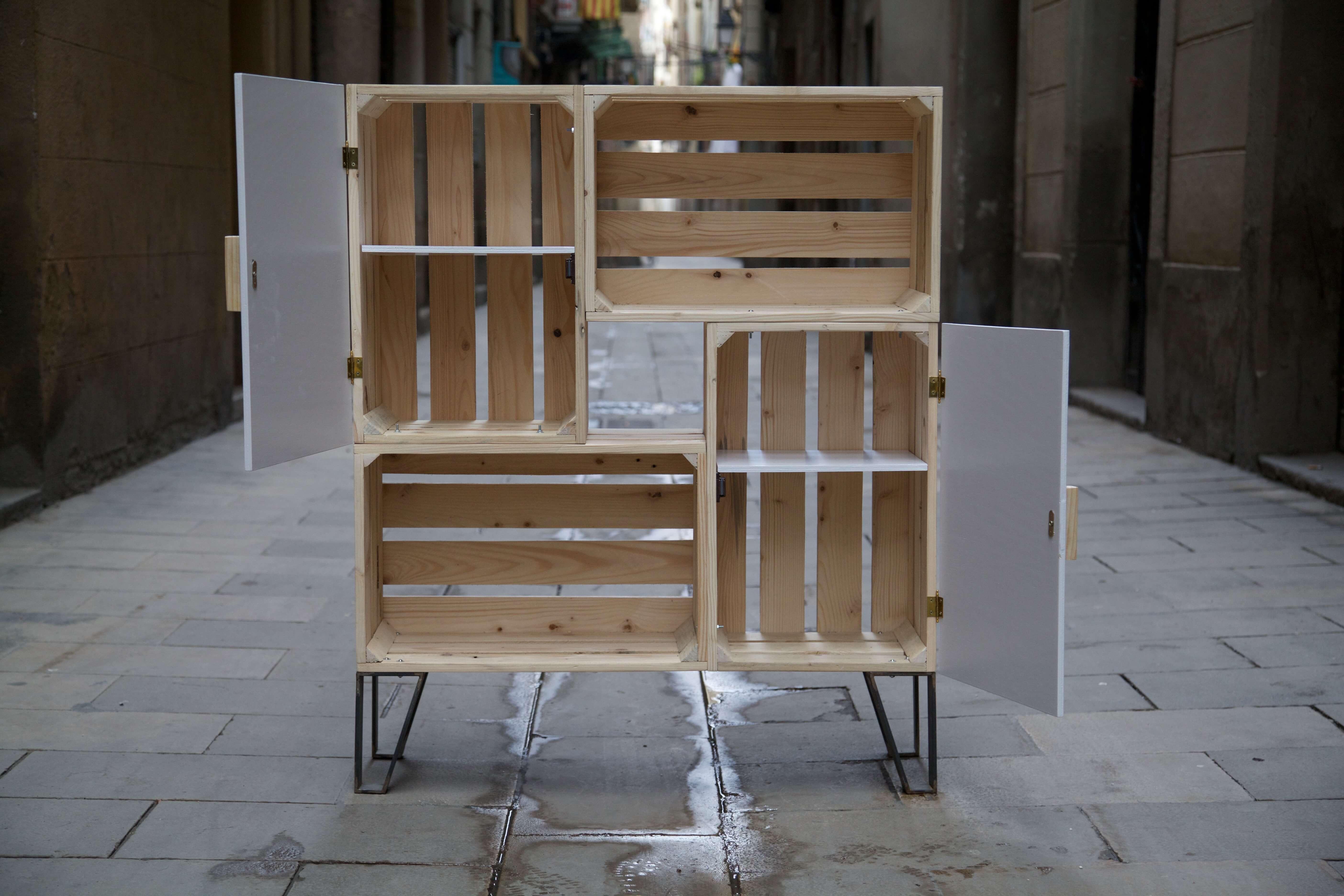 Mueble nemo blanco paletos for Proyecto de muebles de madera