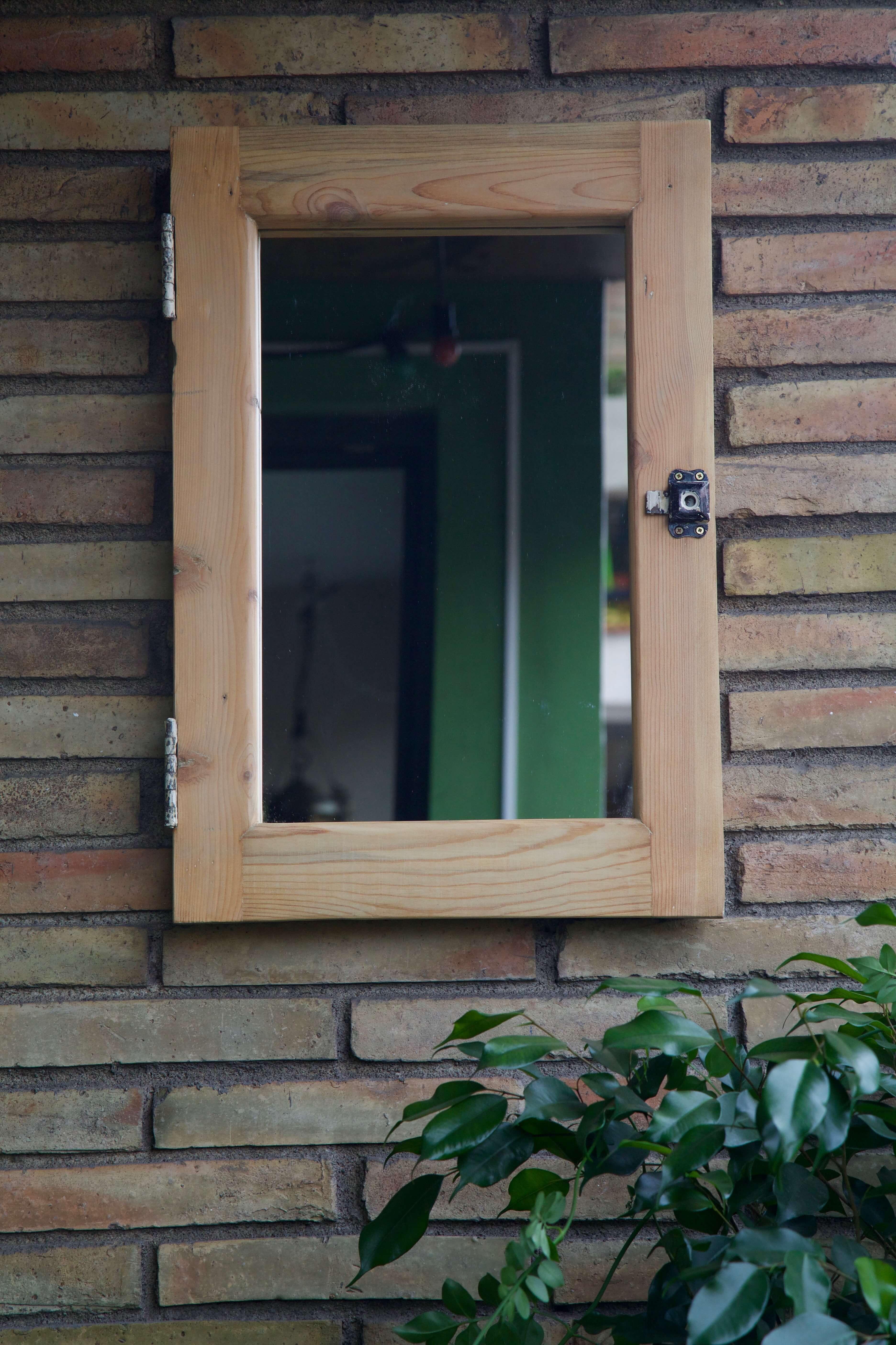 Espejo reciclado de madera phoebe paletos for Espejos de madera