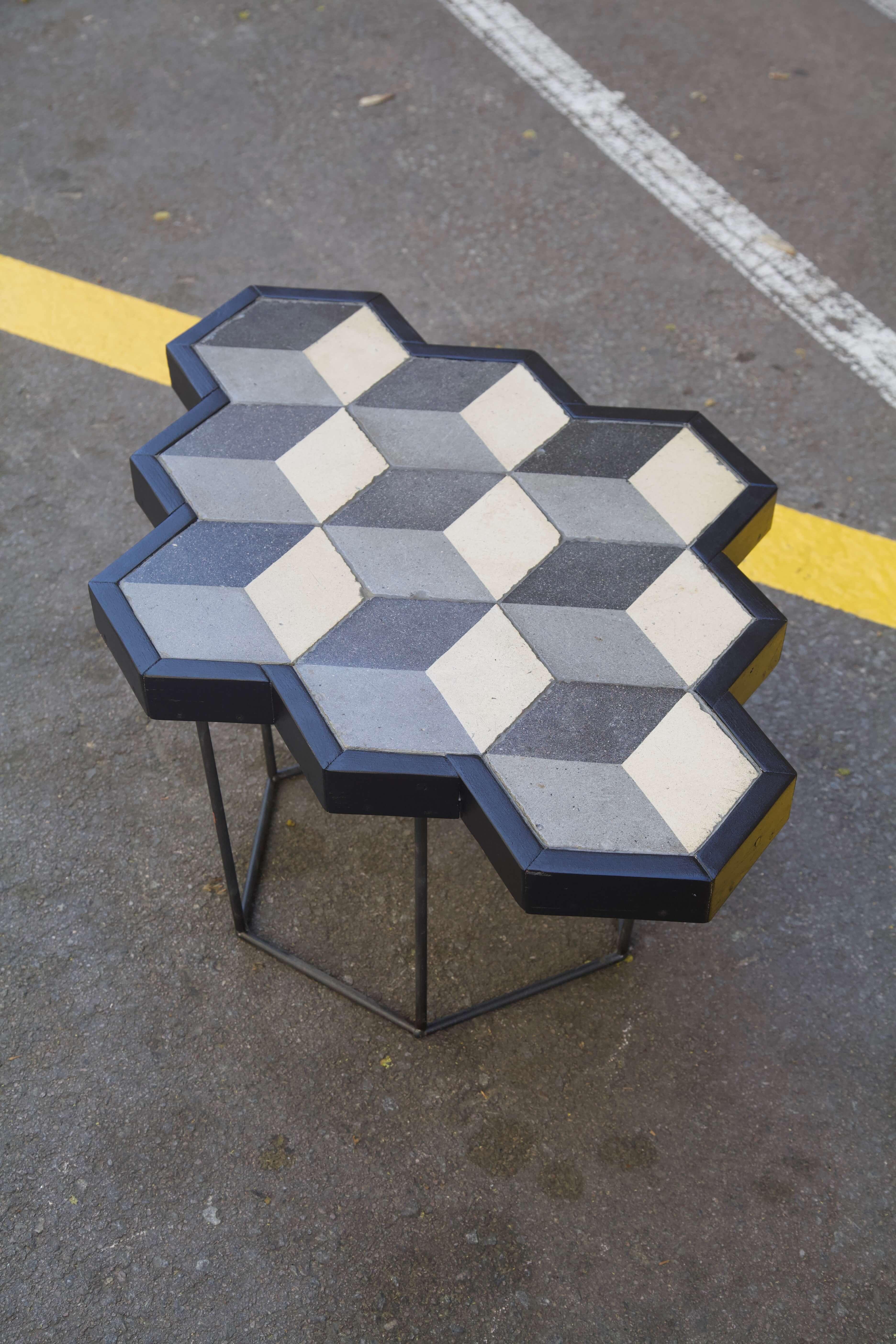 detalle superior mesa hecha con racholas