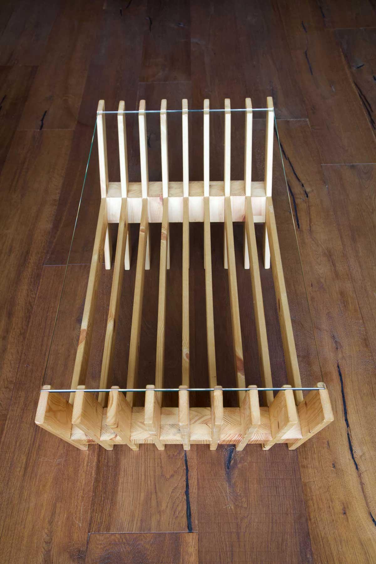 Mesa hecha con láminas de palet desde arriba